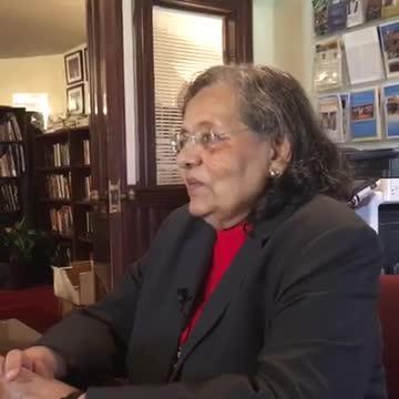 Diane Nash speaks  to reporters at Fisk University