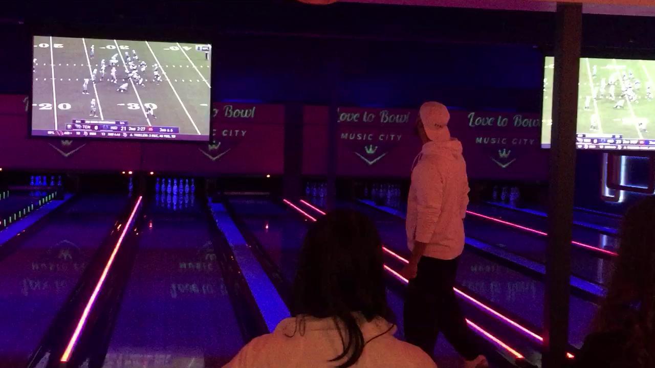 David Price bowls a strike