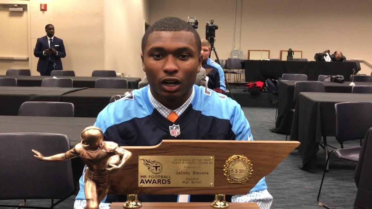 Video: JaCoby Stevens named Class 6A Mr. Football Back