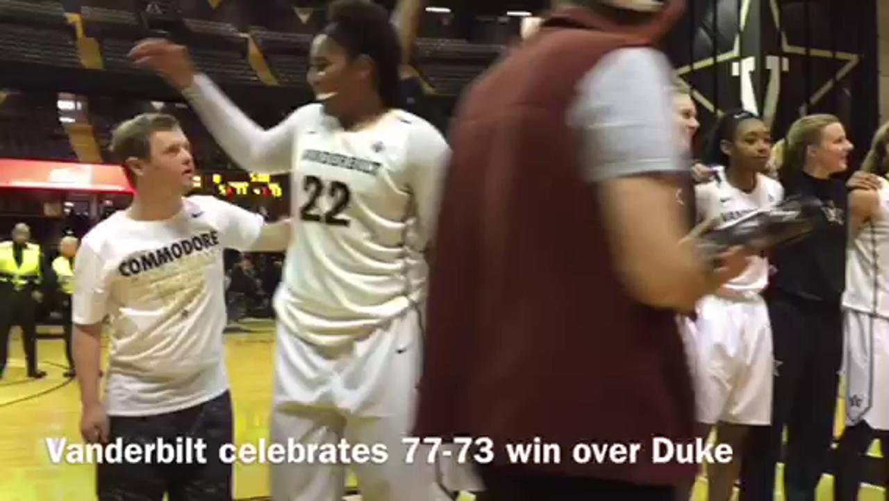 Vanderbilt women celebrate win over Duke