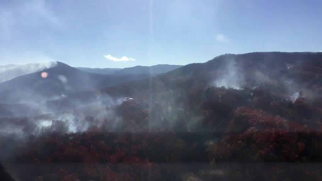 Aerial footage of the wildfires around Gatlinburg