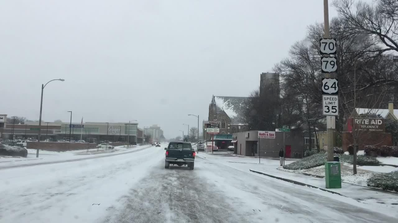 Driving in the snow in Midtown