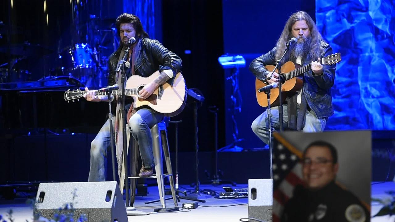 Billy Ray Cyrus and Jamey Johnson perform at memorial for Officer Mumaw