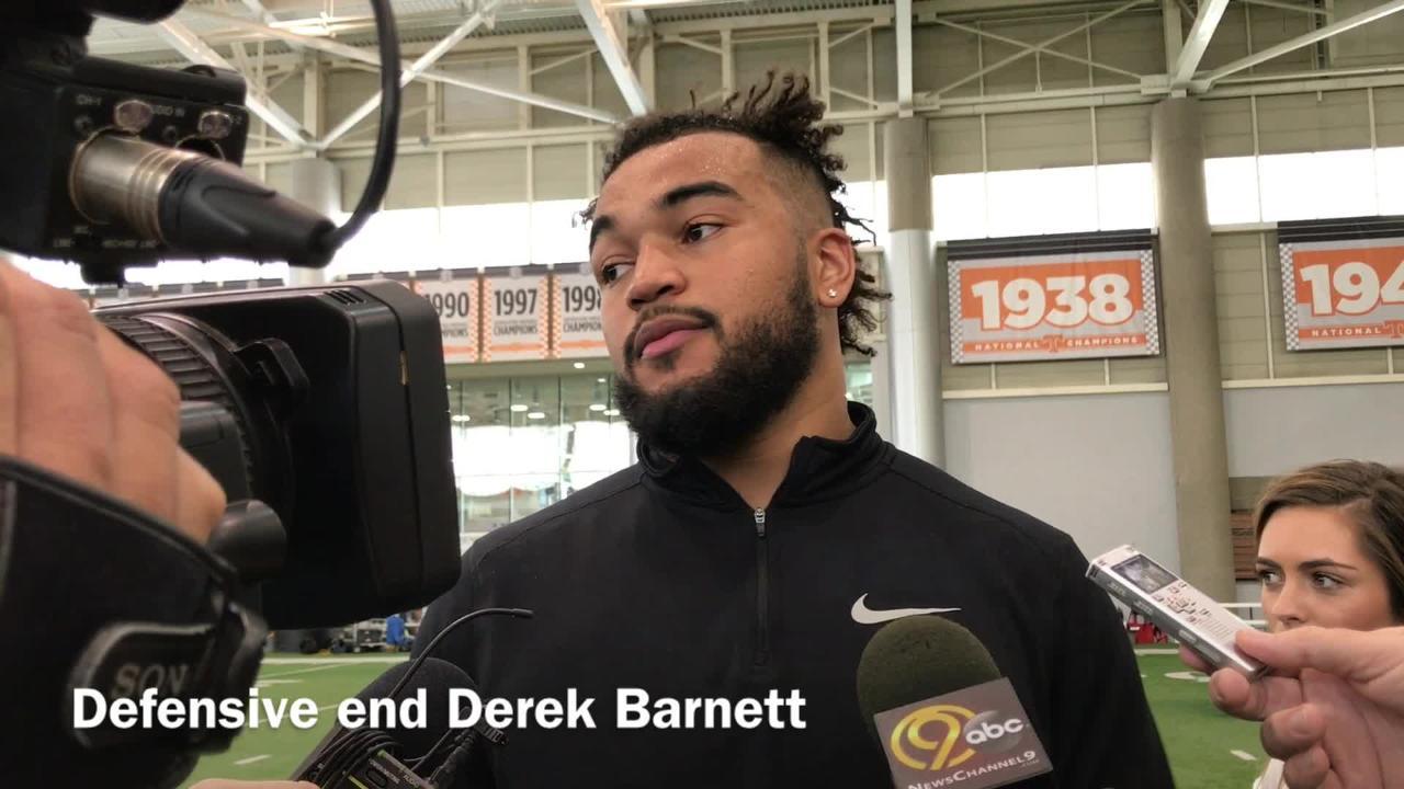 Derek Barnett speaks after Vols Pro Day