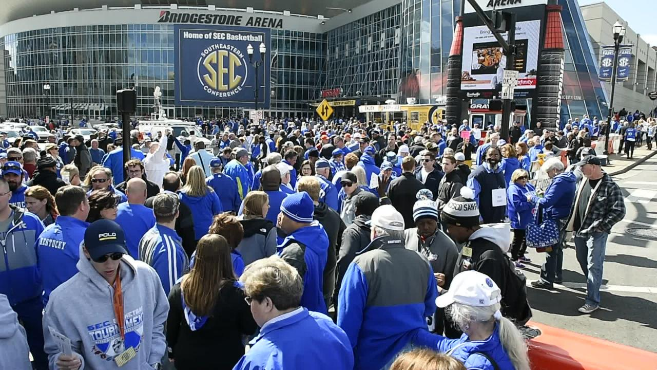 Video: A sea of blue outside Bridgestone Arena prior to Kentucky's first game