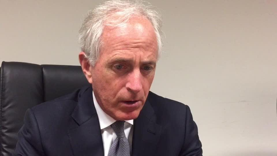 U.S. Bob Corker discusses changes in the filibuster and its effect on the Senate during an interview with the News Sentinel editorial board April 21, 2017.