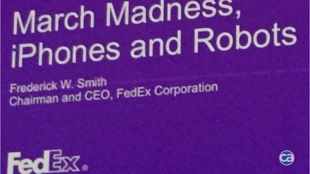 Fred Smith introduces FedEx robot