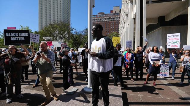 Protesters gather as U.S. Attorney General Jeff Sessions visits Memphis