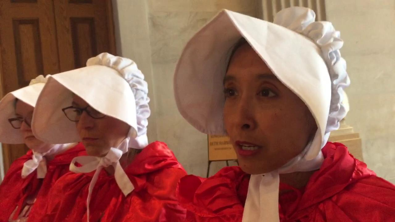 Pro-choice protesters dress as handmaids in Tennessee capitol