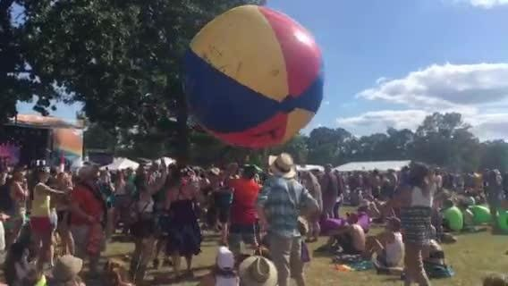 Bonnaroo fans keep giant beach ball bouncing