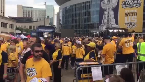 Hockey fans gather outside of Bridgestone Arena for Game 3 of the Stanley Cup Final