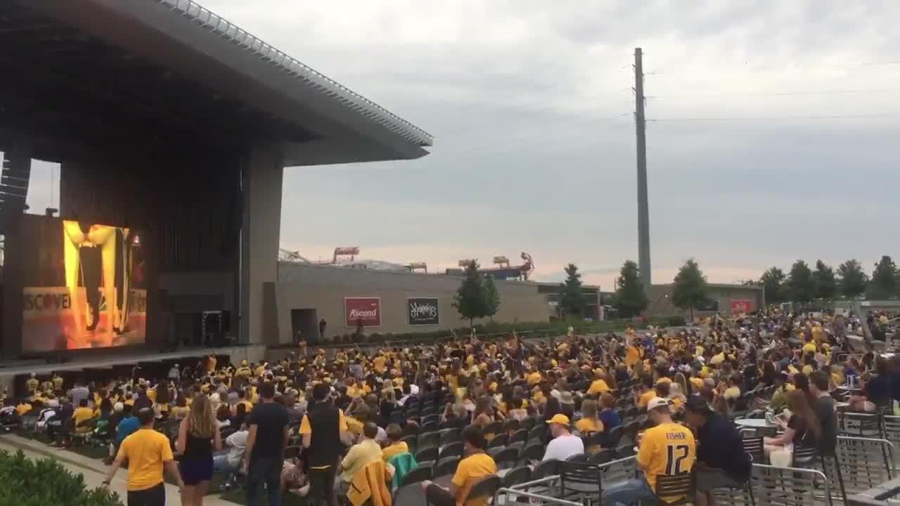 Predators fans cheer at Ascend Amphitheater Stanley Cup Final watch party