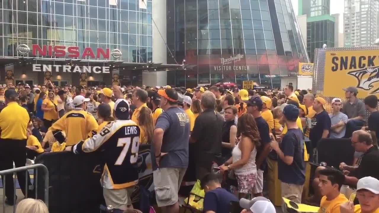 Predators fans boo as they are told to leave Bridgestone Plaza