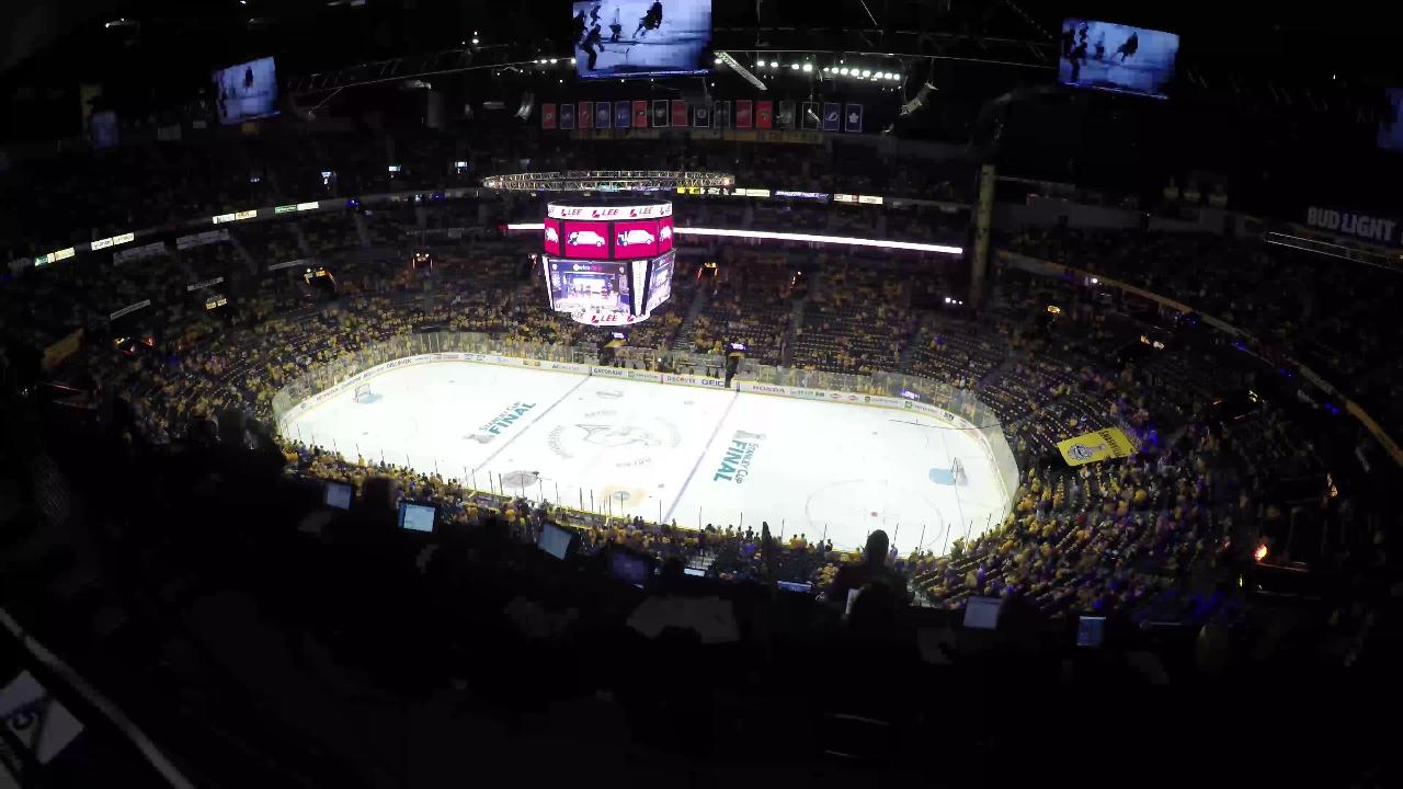 Predators and Penguins fans fill Bridgestone Arena
