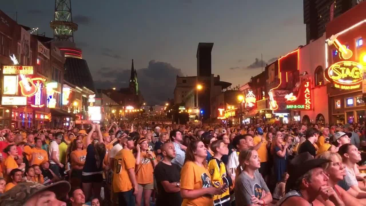 Predators fans swarm Broadway for Stanley Cup Final