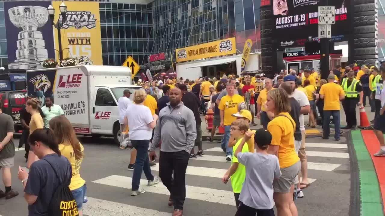Nashville Predators fans arrive for Game 4 of the Stanley Cup Final