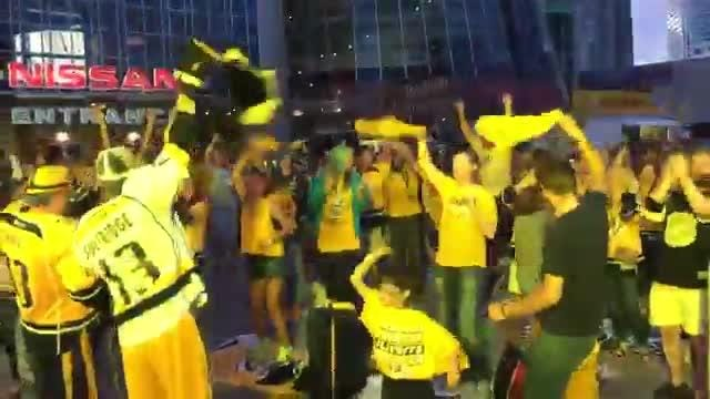 Predators fans as Bridgestone Plaza go crazy for the first goal of Game 4