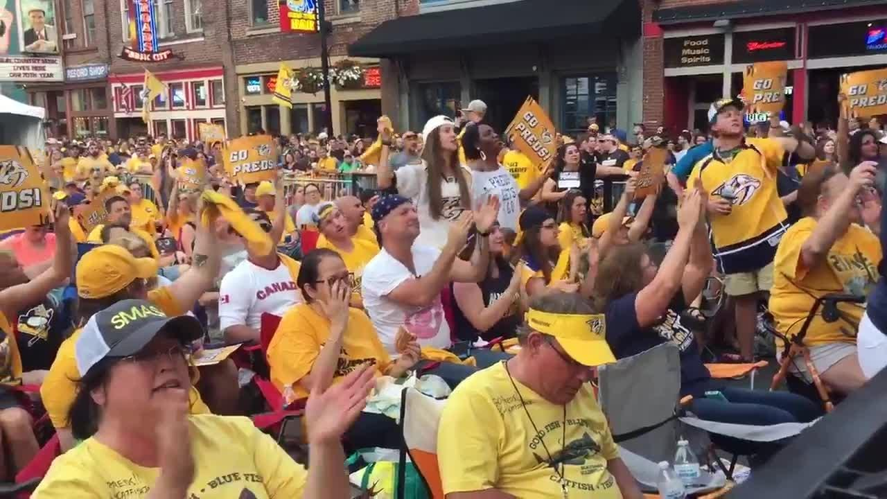 Preds fans chant at the Stanley Cup Final watch party