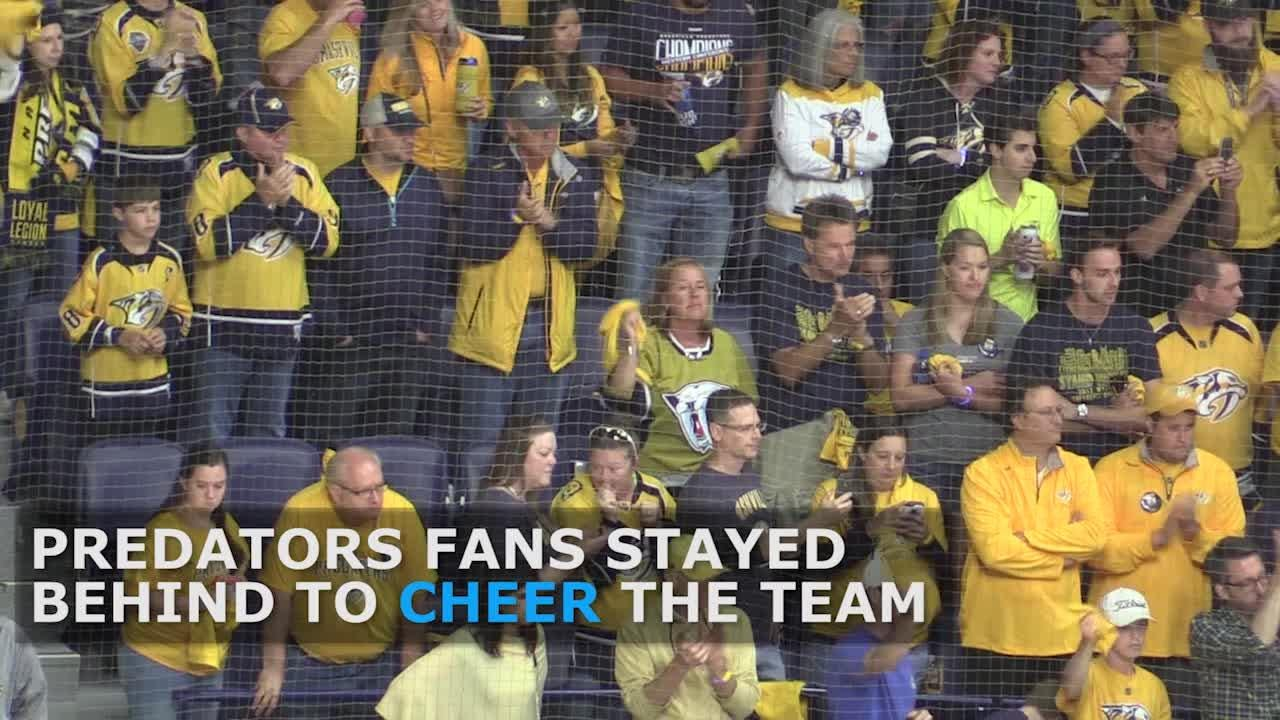 Fans cheer on Predators after loss