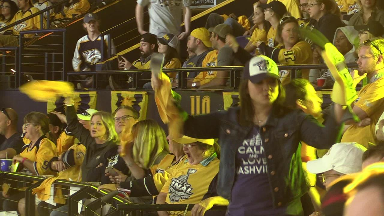 Fans celebrate Predators Power Play in first period