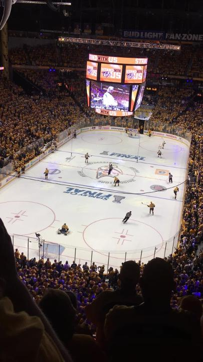 Predators fans cheer as a catfish is tossed