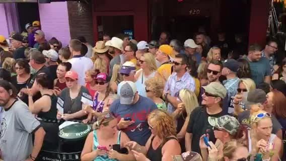 Nashville Predators fans gather for the Alan Jackson concert