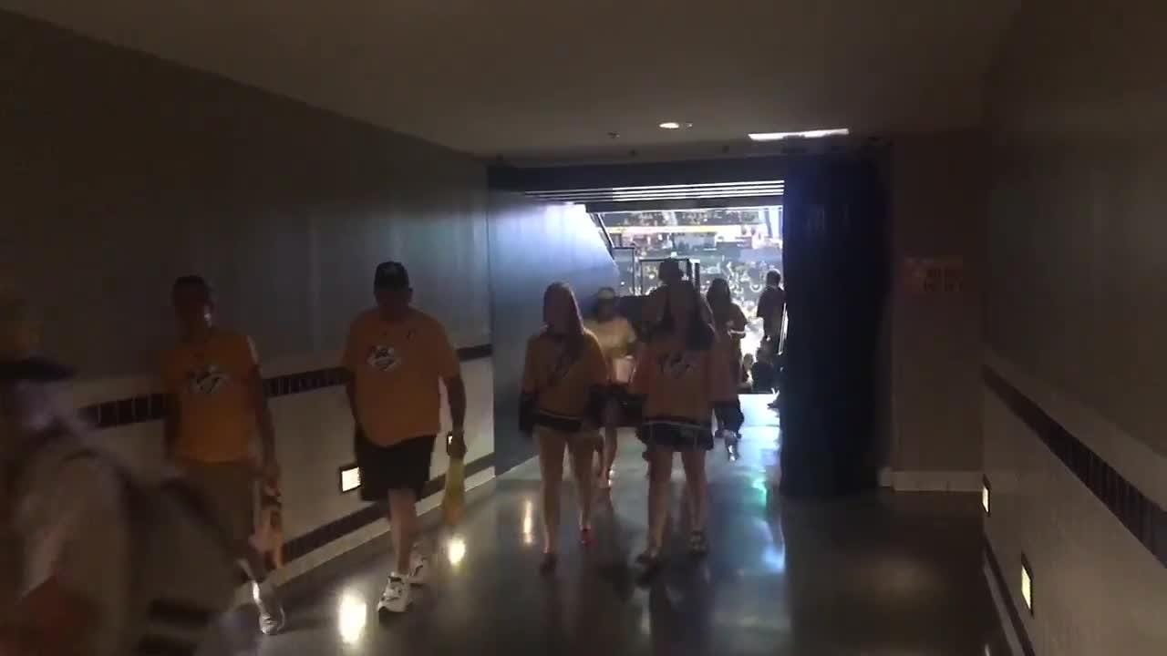 Fans pour out of Bridgestone Arena in second period