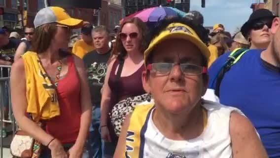 Nashville Predators fan waits for hours in heat for watch party