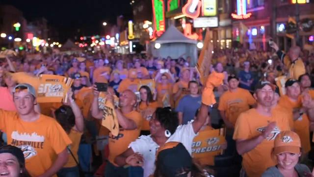 Predators fans celebrate on lower Broadway