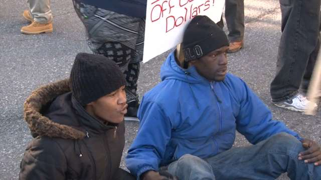 McDole family, protestors conduct sit-in on Market St.