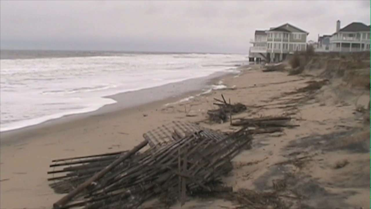Between a nor'easter in October and a major coastal storm last month, there are no dunes and very little beach left as high winds, surging waves and erosion are forecast into Tuesday afternoon.  2/9/16