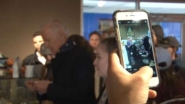 Joe Biden draws crowd at Newark coffee shop