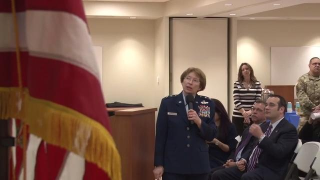 Maj. Gen. Carol Timmons, the Adjutant General for the Delaware National Guard, met community members in Feb. 2017 and briefed them on the state of the guard.  2/15/17
