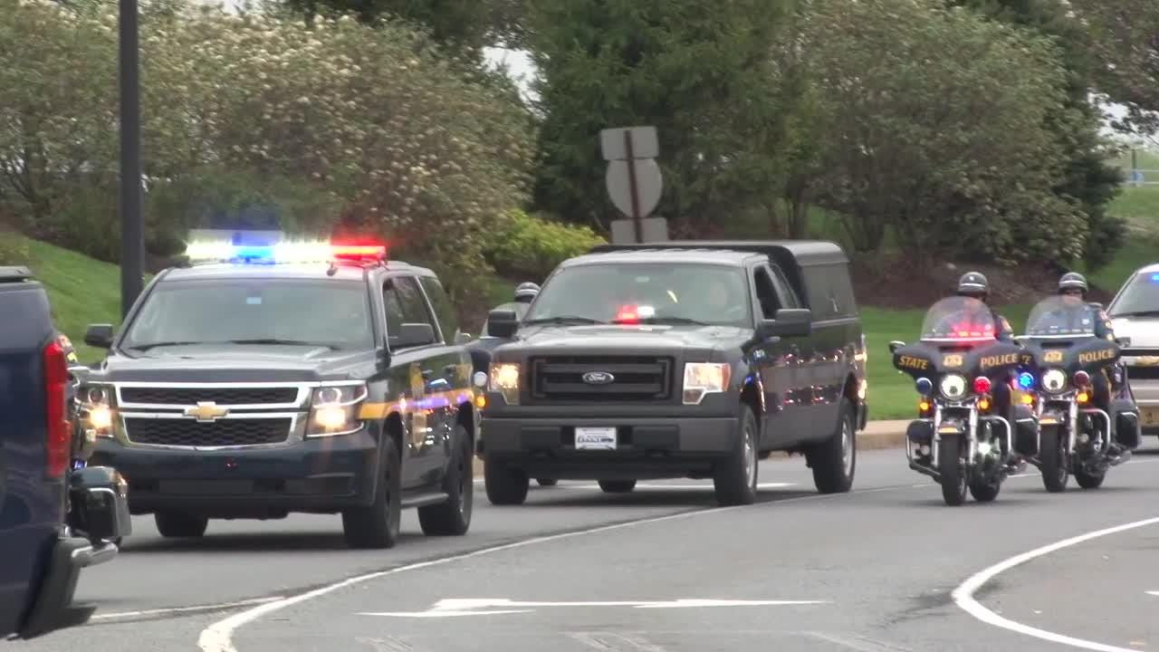 Raw Video: Police escort body of officer from Christiana Hospital