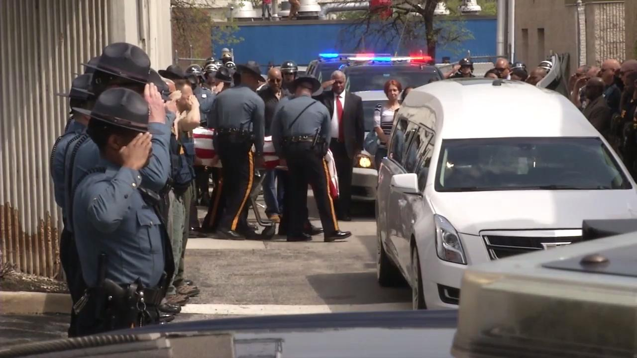 Raw Video: Trooper's body departs for funeral home