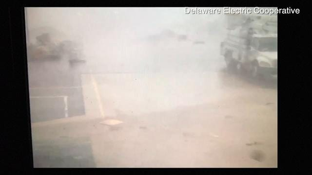 Security camera footage of possible tornado damage at Delaware Electric Cooperative Monday.