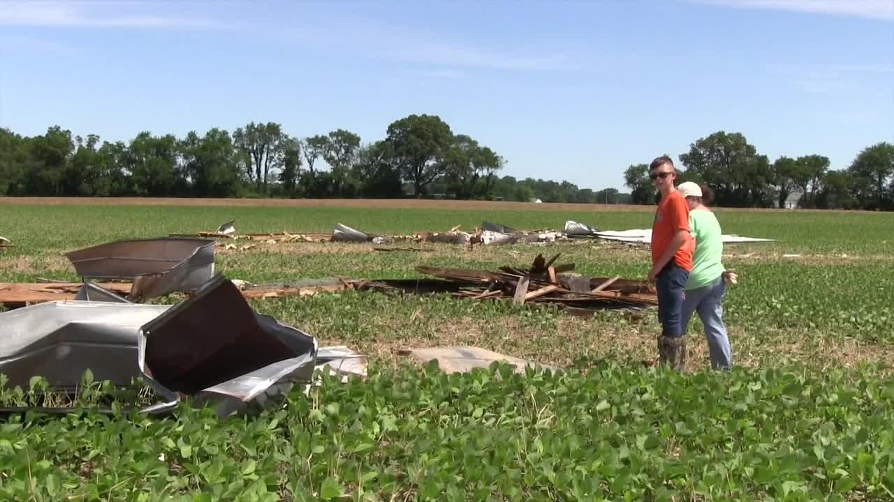 Possible tornado damages farm in Greenwood