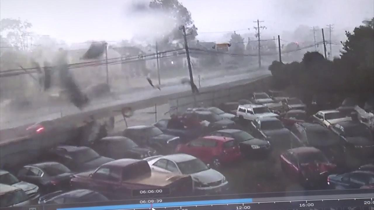 A quick moving storm, packing strong wind and hail left a trail of destruction early Saturday in New Castle and New Jersey. A security camera at CPG Towing in New Castle captured winds destroying a fence and sending it flying power lines.
