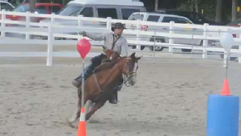 Mounted Shooting competition at the Ottawa County Fair on Thursday, July 17, 2014.