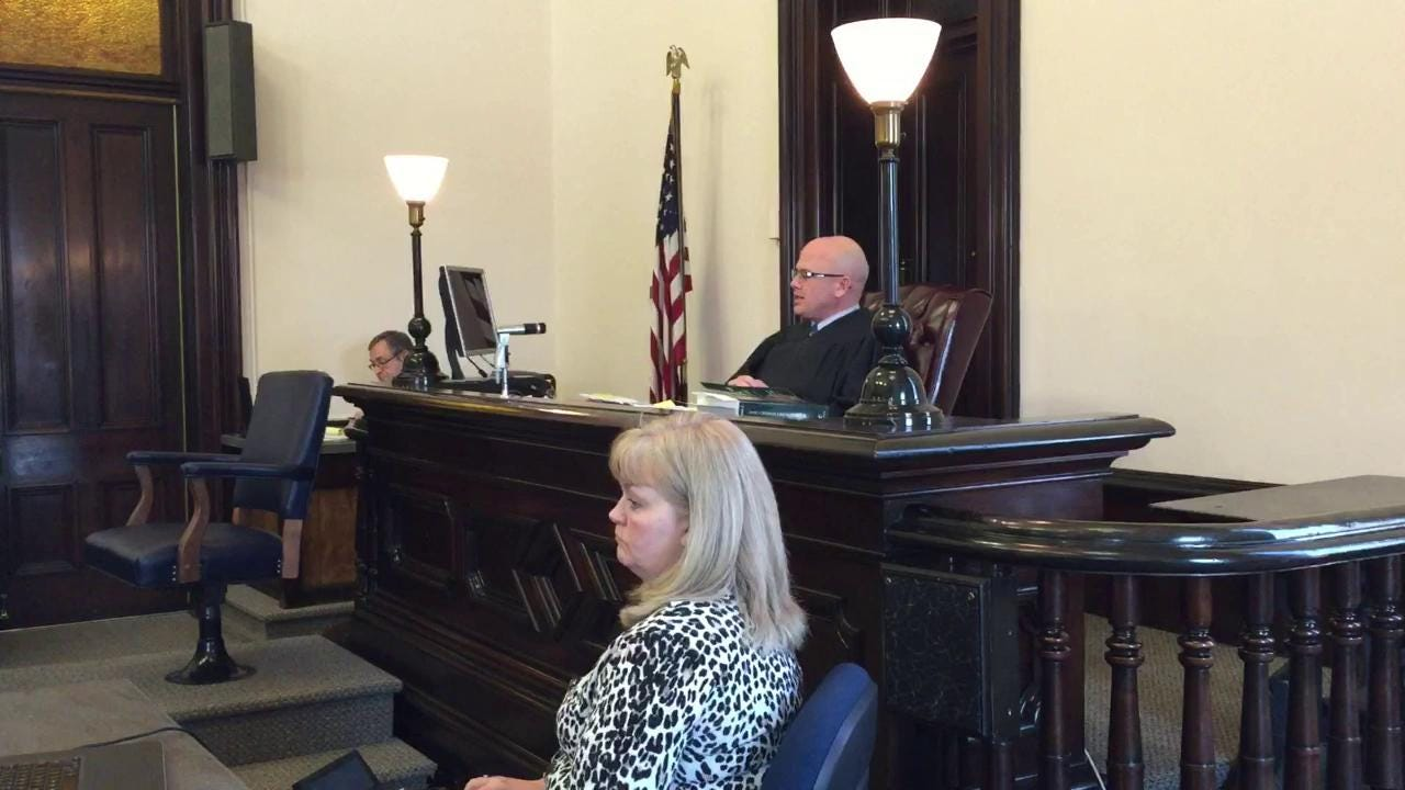 Judge Robert Batchelor admonishes Michael W. Pate Jr. Monday in Coshocton County Common Pleas Court. Pate received 25 years to life in prison for 12 counts of rape of a juvenile.