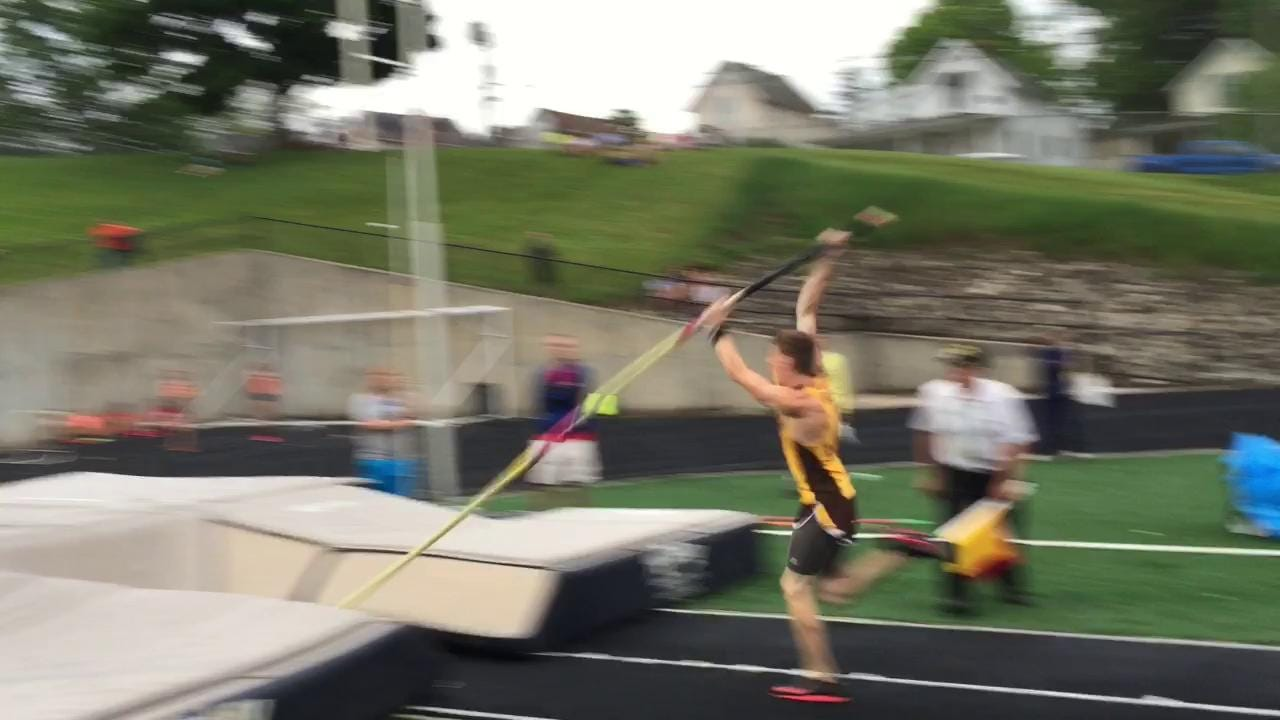 Footage of Old Fort's Adam Alexander competing in the pole vault.