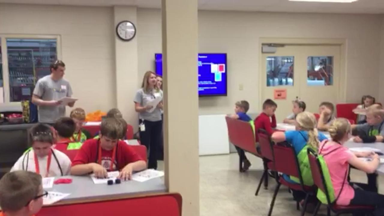 Fourth graders learn about human resources by playing bingo Thursday at GE Lighting's Bucyrus Lamp Plant. Todd Hill/Telegraph-Forum