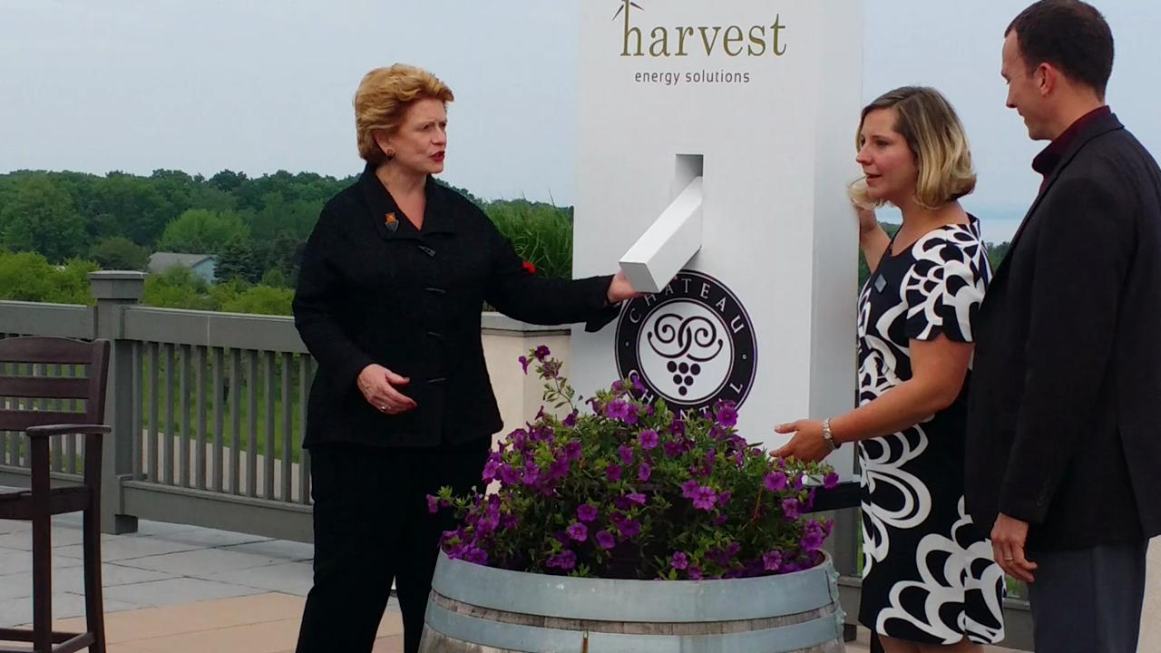 On May 29, U.S. Senator Debbie Stabenow flipped the switch to symbolically activate the new solar array installed by Harvest Energy Solutions at Chateau Chantal Winery & Inn on Grand Traverse Bay.