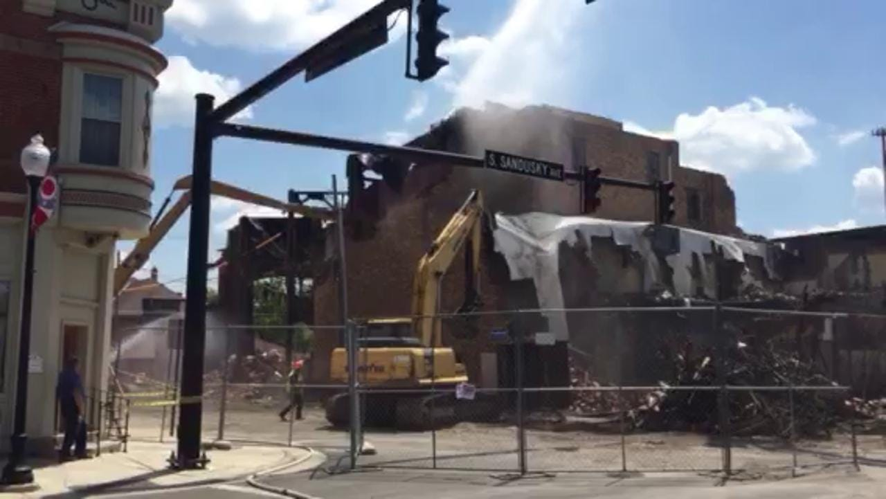 Demolition proceeds Tuesday on the old Schine's Bucyrus Theater building, built in 1936, in downtown Bucyrus.