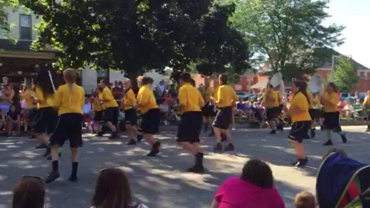 The Colonel Crawford High School marching band performs in the third and last parade Saturday at the 48th annual Bucyrus Bratwurst Festival.
