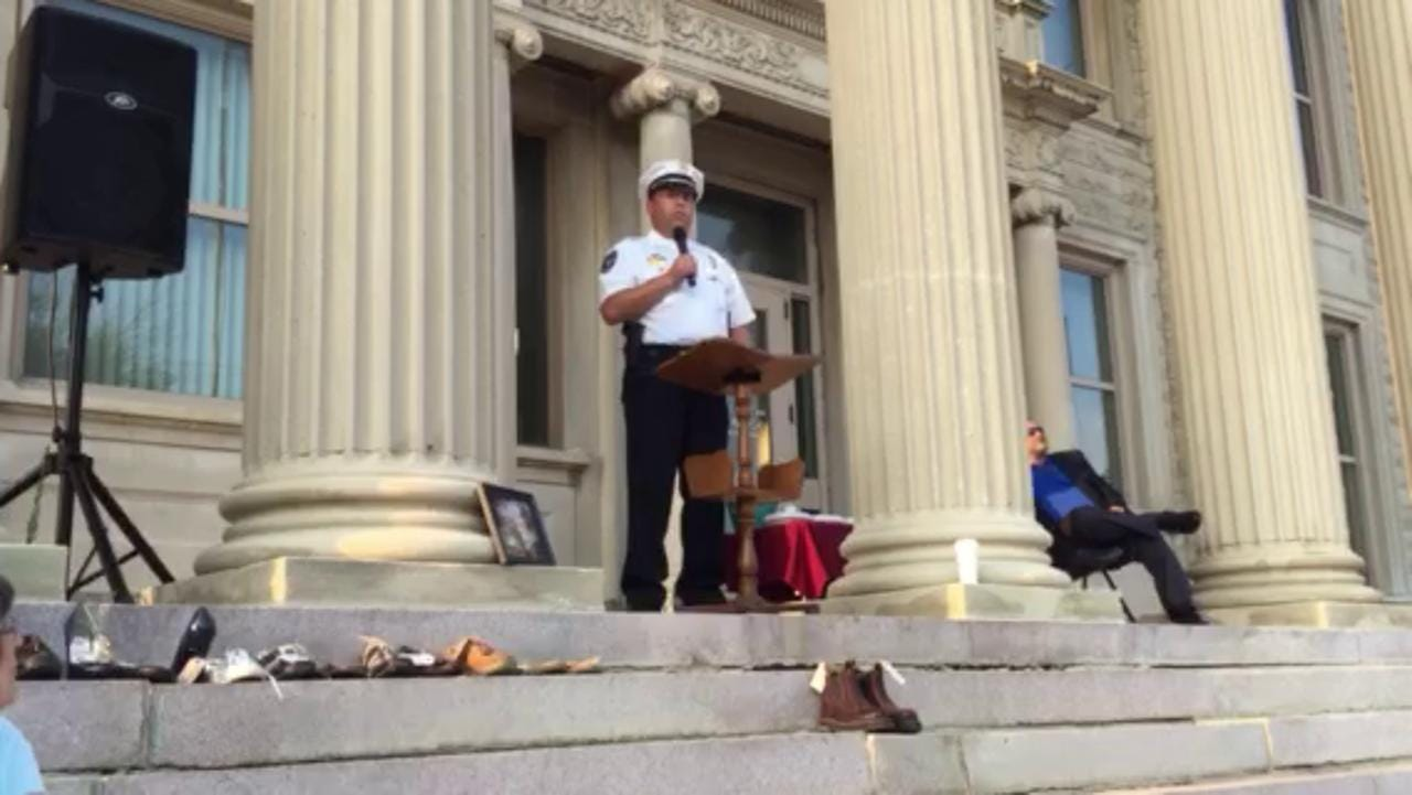 """Bucyrus Police Chief David Koepke addresses a """"Fed Up"""" rally to combat drug addiction Monday on the steps of the Crawford County Courthouse in Bucyrus."""