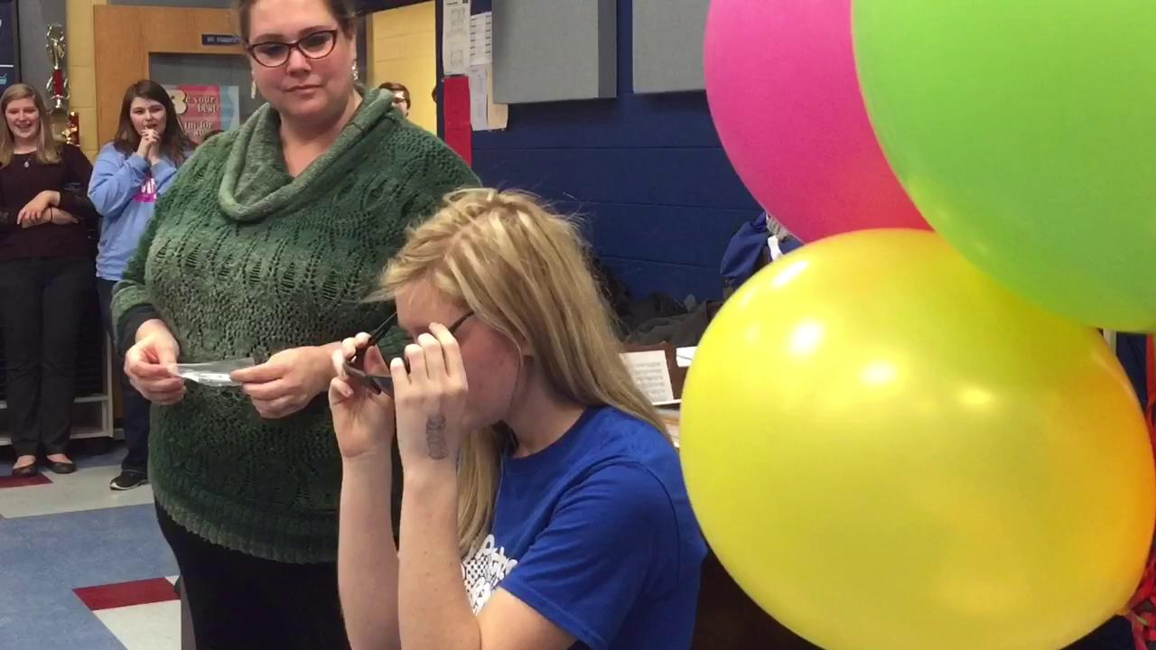 Southeastern High School students Micah Violette and Kylie Jordan rallied together with their pep band to give sophomore Kayla Jackson a new pair of EnChroma glasses.