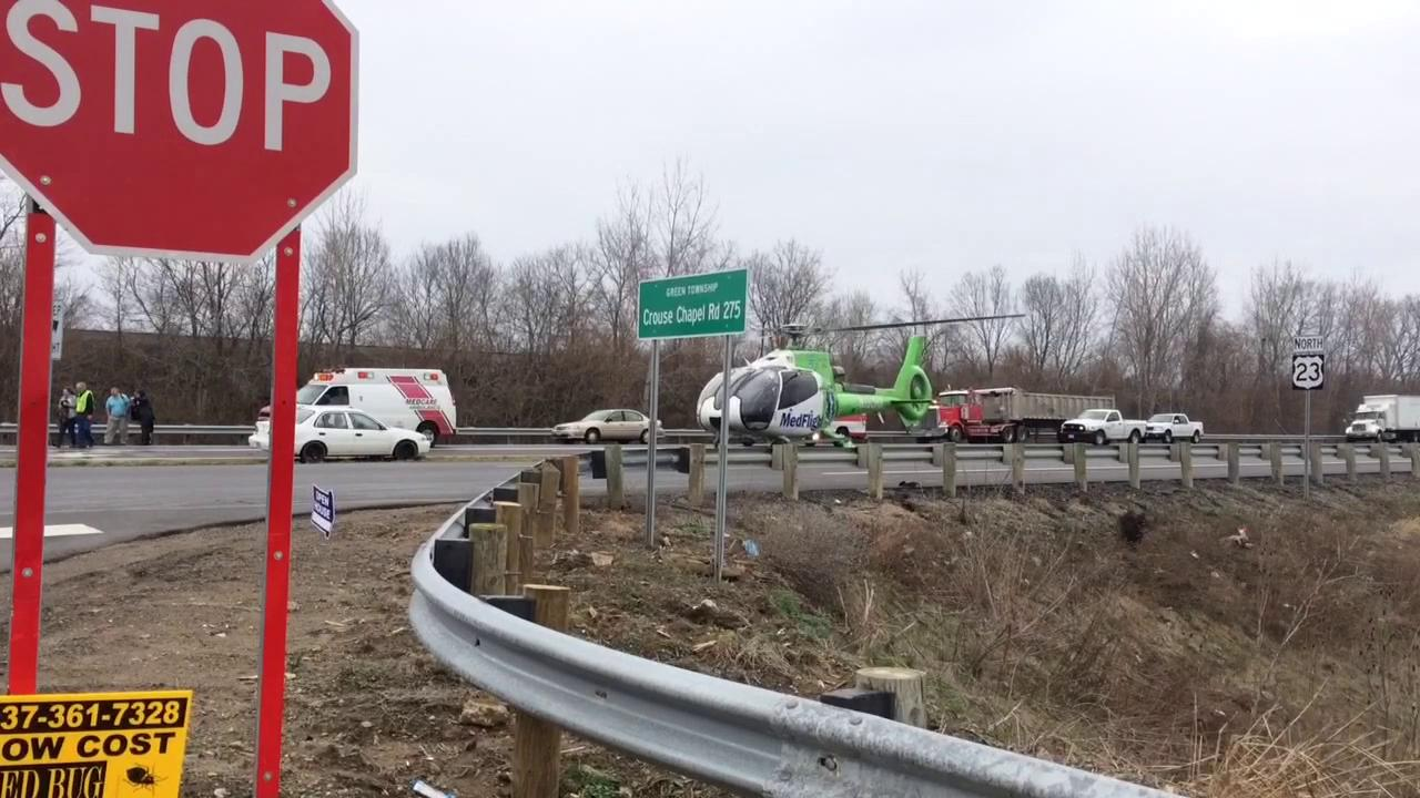 A MedFlight helicopter landed on U.S. 23 at Crouse Chapel Road after a crash Monday, March 6, 2017.