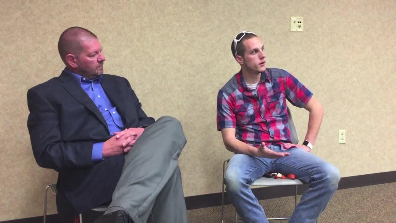 Ryan Heinlein, former Westfall student and football player, drove over an hour to support Scott Keller as he spoke at a town hall about drug addiction Thursday evening.