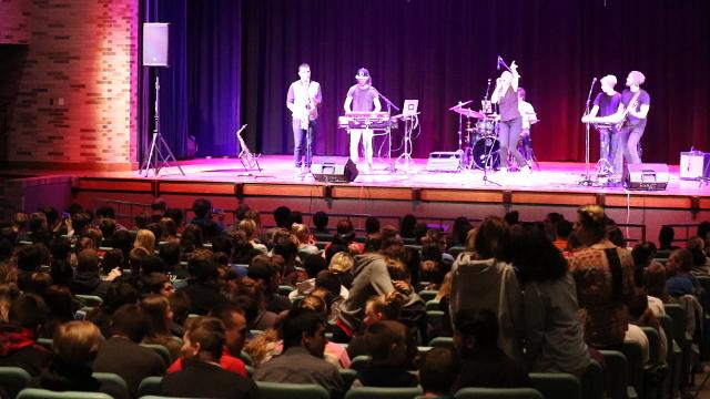 Matthiessen Nisch Quan, PCHS alumnus and professional drummer, returned with his own band, The Tubs, to rock Port Clinton High School last week.